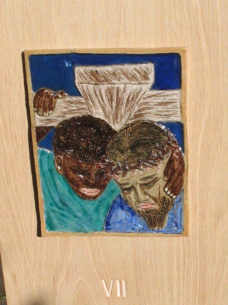 7. Simon of Cyrene helps to carry the cross