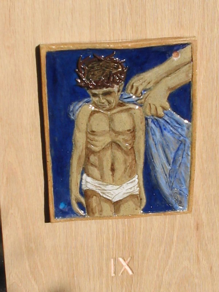9. Jesus is stripped for execution.